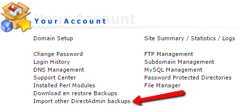 Import other DirectAdmin backups